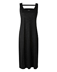Plain Black Cut-Out Back Midi Dress