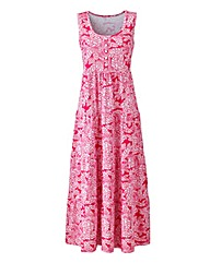 White/Watermelon Leaf Print Maxi Dress
