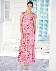 White/Watermelon Leaf Print Maxi Dress