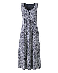 Navy Ditsy Print Maxi Dress 47in