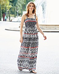 Tribal Print Shirred Maxi Dress