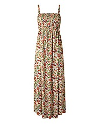 Leaf Print Shirred Maxi Dress - L49