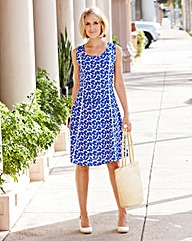 White/Cobalt Print Linen Mix Dress
