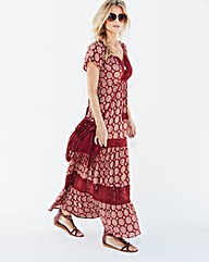 Rust Print Tiered Lace Trim Maxi Dress