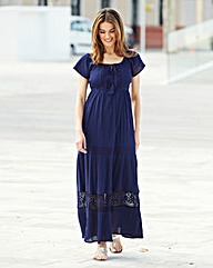 Tiered Lace Trim Short-Sleeve Maxi Dress