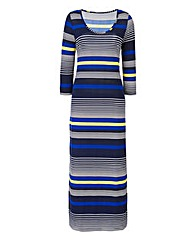 Navy/Lime Stripe Jersey Midi Dress 50in