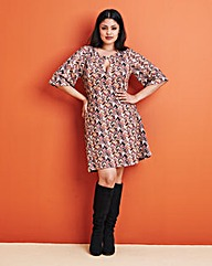 Zig Zag Babydoll Bell Sleeve Dress