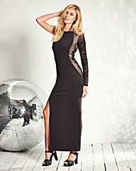 Sequin-Trim One-Sleeve Maxi Dress