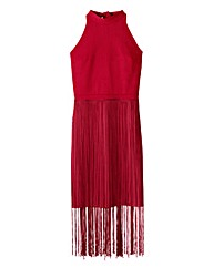 Fringed High Neck Halter Dress