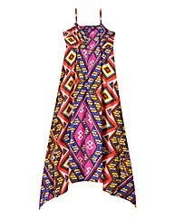 Print Strappy Hanky Hem Dress