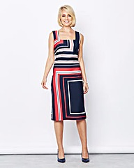 Geo Stripe Square-Neck Ponte Shift Dress