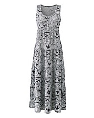 Leaf Print Tiered Jersey Maxi Dress
