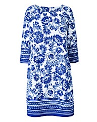 White/Blue Border Print Tunic Dress