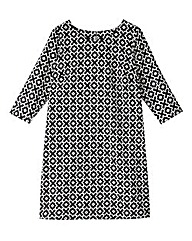 Black/White Geo Print Tunic Dress