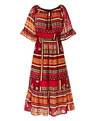 Print Boho Midi Dress