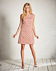 Brocade Sleeveless Shift Dress