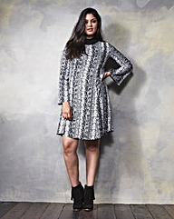 Print Long-Sleeve Woven Swing Dress