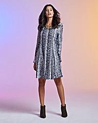 Print Long-Sleeve Woven Swing Dress