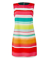 Multi-Coloured Stripe Shift Dress