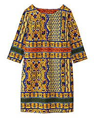 Yellow/Navy Tile Print Tunic Dress
