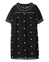 Embellished Short-Sleeve Shift Dress