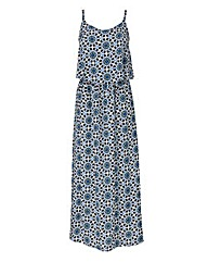 Blue Tile Print Layer Top Maxi Dress