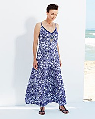 White/Blue Paisley Print Maxi Dress