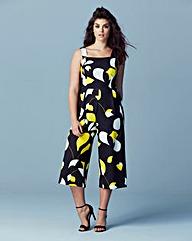 Black Print Culotte Jumpsuit