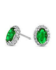 Simply Silver Green Oval Stud Earring