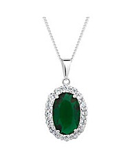 Simply Silver Green Pendant Necklace