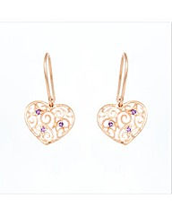 Rose Gold Plated Amethyst Heart Earrings