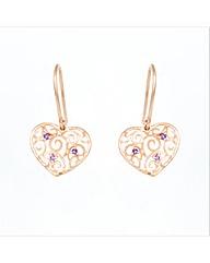 Rose Gold Plated Amethyst Heart Earrings