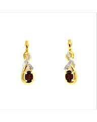 Gold Plated Silver Red Garnet Earrings