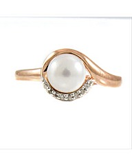 Rose Gold Plated Pearl and Diamond Ring