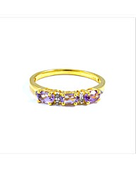 Gold Plated Amethyst and Diamond Ring