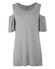 Grey Marl - Cold Shoulder T-shirt