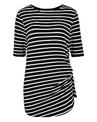 Mono Stripe Twist Side Tshirt