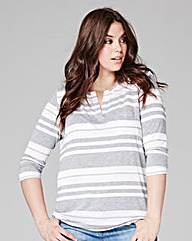 Stripe 3/4 Sleeve Grandad Top