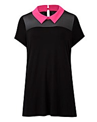 Black/Pink - Contrast Collar Top