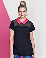 Black/Pink - Contrast Collar Top