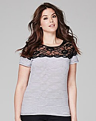 Stripe Lace Detail Top