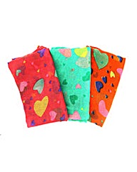 Set Of 3 Heart Printed Scarves