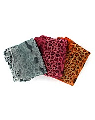 Set Of 3 Animal Print Scarves