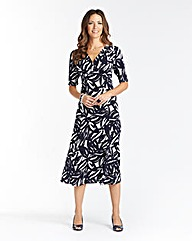 Printed Wrap Jersey Dress L 43