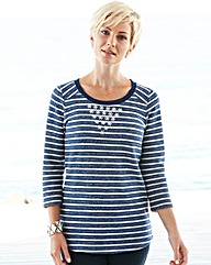 Bead Trim Stripe Sweatshirt