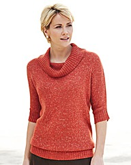 Cowl Neck Cotton Blend Jumper