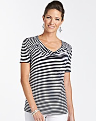 Stripe Cowl Neck Jersey Top