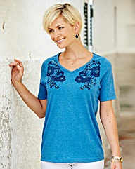 Cotton Blend Print Embellished Top