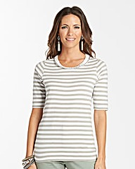 Stripe T-shirt With Chain And RibbonTrim