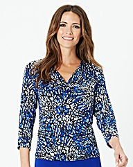 Cowl Neck Printed Jersey Top